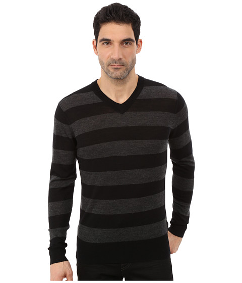 Imbracaminte Barbati 7 For All Mankind Long Sleeve V-Neck Stripe Sweater CharcoalBlack