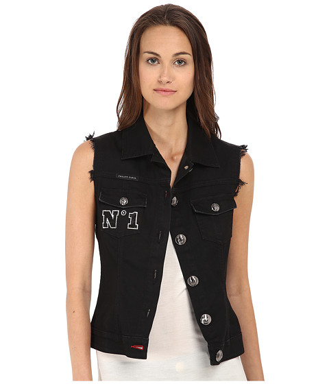 Imbracaminte Femei Philipp Plein Two Denim Vest Black Diamond