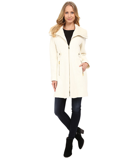 Imbracaminte Femei Via Spiga Boiled Wool Coat w Knit Collar and Side Tabs Ivory
