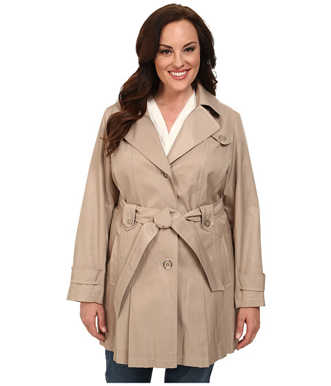 Imbracaminte Femei Via Spiga Plus Size Single-Breasted Hooded Trench Sand