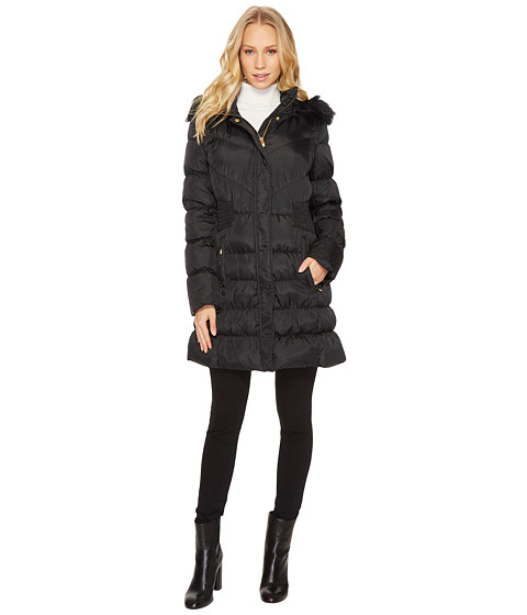 Imbracaminte Femei Via Spiga Down Coat w FF Trimmed Hood and Shirred Sides Black