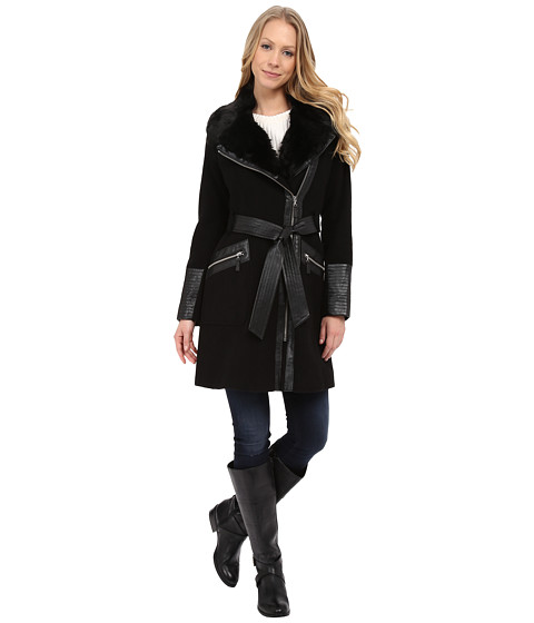 Imbracaminte Femei Via Spiga Asymmetrical Belted Wool Coat w PU Detail and Faux Fur Collar Black