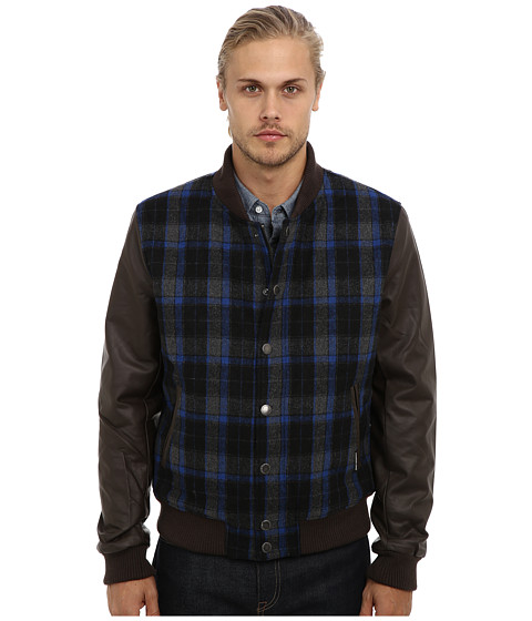 Imbracaminte Barbati Members Only Plaid Wool Varsity Jacket w PU Sleeves CobaltCobaltAcademy