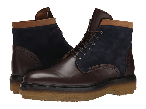 Incaltaminte Barbati Etro Runway Leather and Suede Boot BrownNavyTan