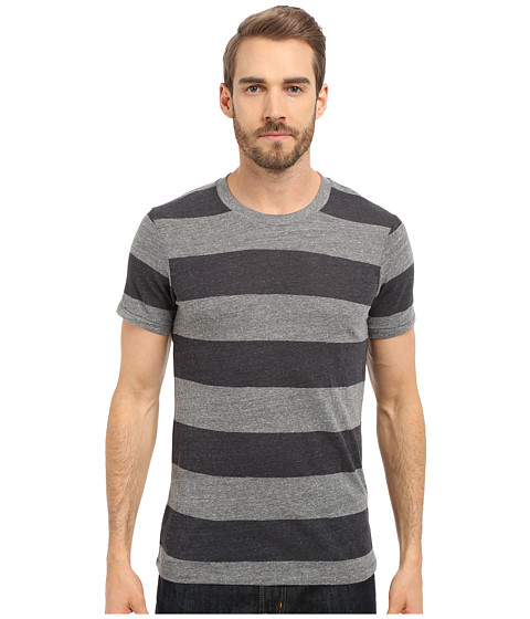 Imbracaminte Barbati Alternative Apparel Eco Crew Eco GreyIron Weathered Stripe