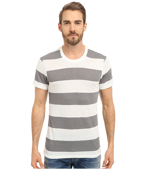 Imbracaminte Barbati Alternative Apparel Eco Crew Eco True GreyWhite Weathered Stripe