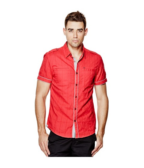 Imbracaminte Barbati GUESS Turner Dobby Short-Sleeve Shirt red hot
