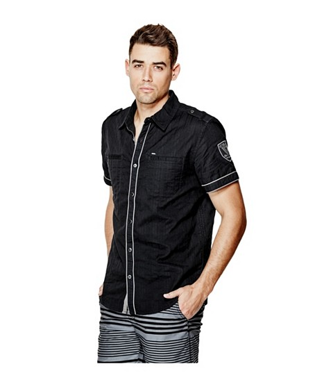 Imbracaminte Barbati GUESS Turner Dobby Short-Sleeve Shirt jet black