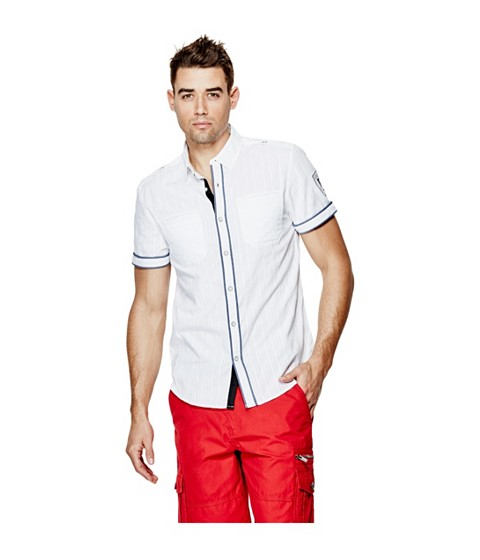 Imbracaminte Barbati GUESS Turner Dobby Short-Sleeve Shirt true white