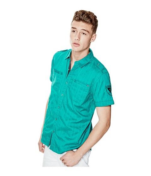 Imbracaminte Barbati GUESS Turner Dobby Short-Sleeve Shirt green