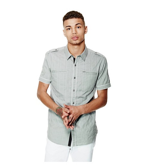 Imbracaminte Barbati GUESS Turner Dobby Short-Sleeve Shirt lunar grey