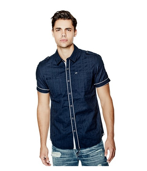 Imbracaminte Barbati GUESS Turner Dobby Short-Sleeve Shirt blue