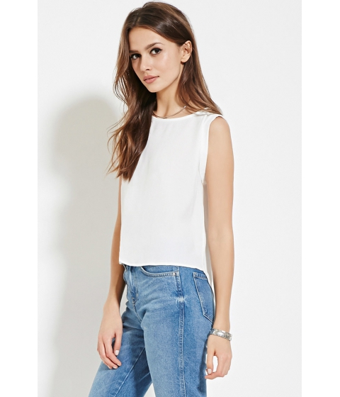Imbracaminte Femei Forever21 Contemporary Cuffed Crepe Top Ivory