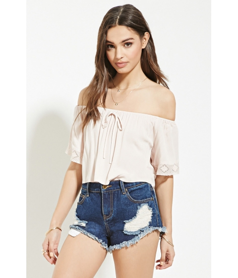 Imbracaminte Femei Forever21 Embroidered Mesh-Trim Crop Top Blush