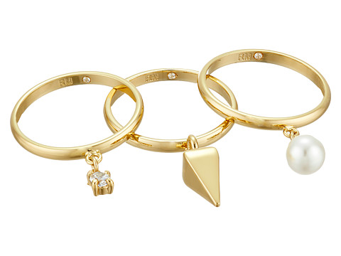 Bijuterii Femei Rebecca Minkoff Set of Three PearlCrystal Charms Rings GoldPearlCrystal