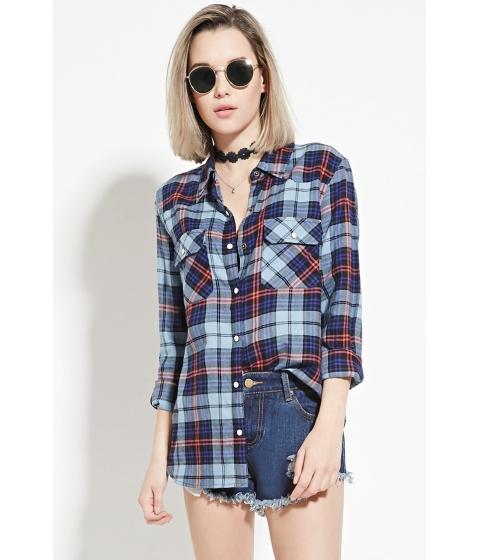 Imbracaminte Femei Forever21 Tartan Plaid Shirt Navylight blue