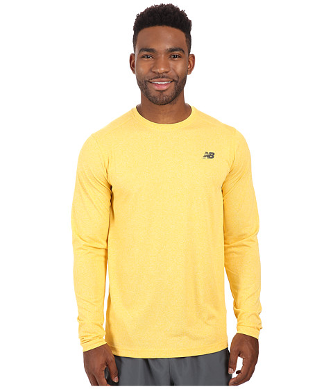 Imbracaminte Barbati New Balance Long Sleeve Heather Tech Tee Gold Rush