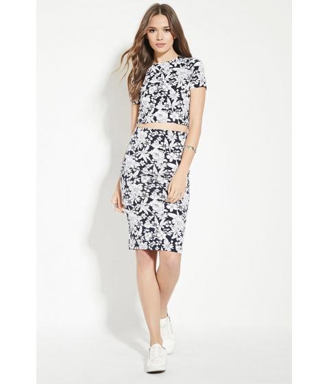 Imbracaminte Femei Forever21 Contemporary Floral Print Skirt Navyivory
