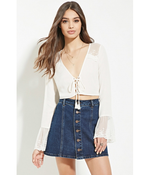 Imbracaminte Femei Forever21 Lacy Lace-Up Crop Top Cream