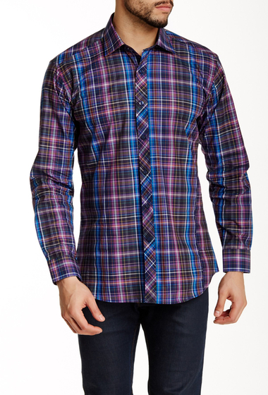 Imbracaminte Barbati Jared Lang Long Sleeve Plaid Semi-Fitted Shirt Purple Plaid