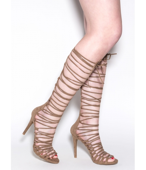 Incaltaminte Femei CheapChic Perfect Alignment Lace-up Heels Taupe