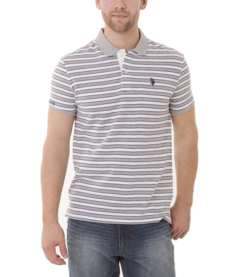 Imbracaminte Barbati US Polo Assn Slim Fit Striped Polo Shirt Heather Gray