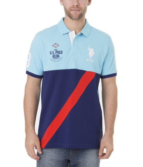 Imbracaminte Barbati US Polo Assn Color Block Diagonal Stipe Polo Shirt SWIMMING BLUE