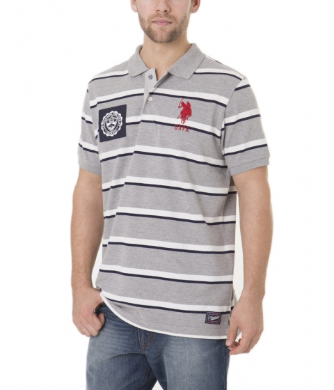 Imbracaminte Barbati US Polo Assn Striped Polo Shirt Heather Gray