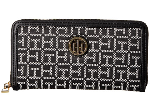 Genti Femei Tommy Hilfiger TH Serif Signature - Monogram JacquardSmooth Large Zip Around Wallet BlackWhite