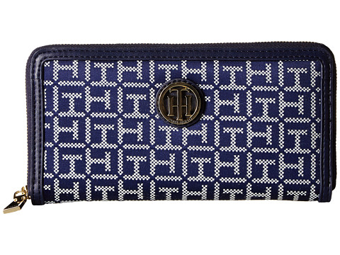 Genti Femei Tommy Hilfiger TH Serif Signature - Monogram JacquardSmooth Large Zip Around Wallet NavyWhite