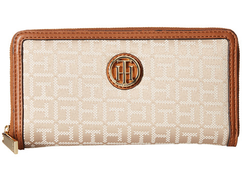 Genti Femei Tommy Hilfiger TH Serif Signature - Monogram JacquardSmooth Large Zip Around Wallet Khaki Tonal