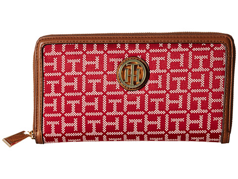 Genti Femei Tommy Hilfiger TH Serif Signature - Monogram JacquardSmooth Large Zip Around Wallet RedCream
