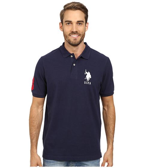 Imbracaminte Barbati US Polo Assn Solid Pique Polo Classic NavyWhite
