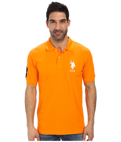 Imbracaminte Barbati US Polo Assn Solid Pique Polo Orange Sunset
