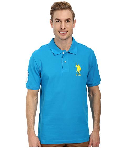 Imbracaminte Barbati US Polo Assn Solid Pique Polo Teal Blue