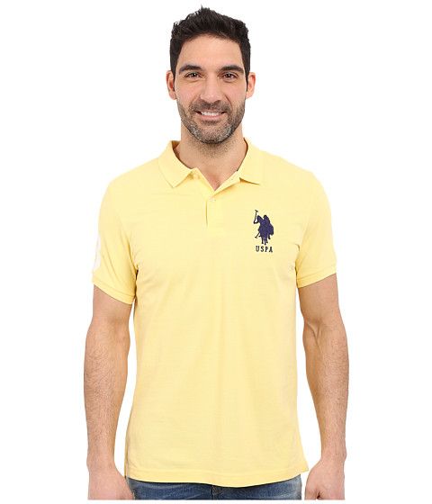 Imbracaminte Barbati US Polo Assn Solid Pique Polo Lemon Frost