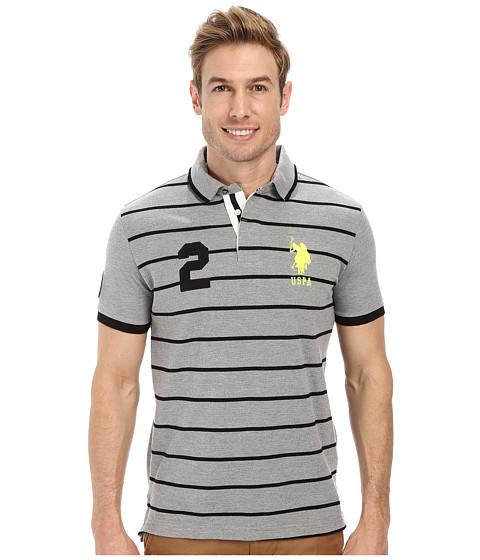 Imbracaminte Barbati US Polo Assn Slim Fit Stripe and Solid Pique Polo Heather Gray