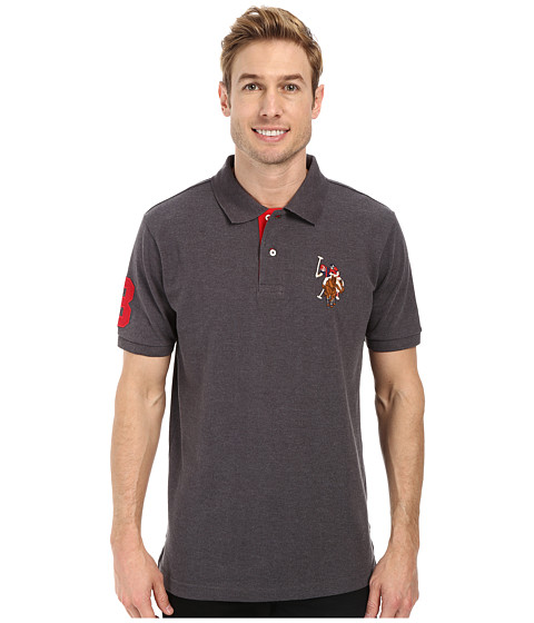 Imbracaminte Barbati US Polo Assn Multicolor Double Rider Logo Solid Pique Polo Heather Dark Gray