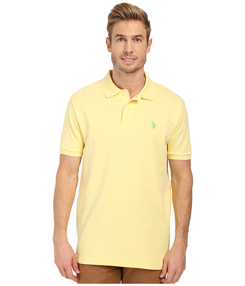 Imbracaminte Barbati US Polo Assn Solid Interlock Polo Lemon Frost