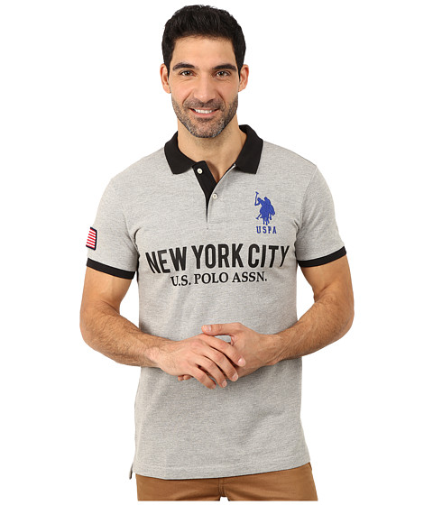 Imbracaminte Barbati US Polo Assn Slim Fit Solid New York City Polo Heather Gray