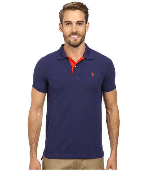 Imbracaminte Barbati US Polo Assn Slim Fit Solid Pique Polo with Contrast Color Striped Under-Collar Dodger Blue
