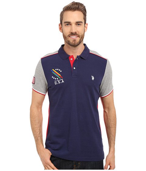 Imbracaminte Barbati US Polo Assn Classic Fit Color Block Polo Shirt Classic Navy