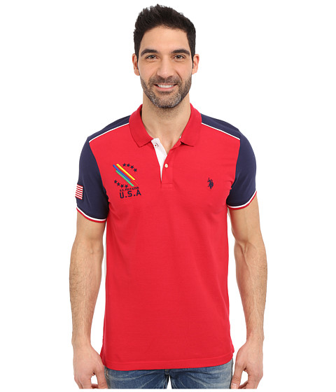 Imbracaminte Barbati US Polo Assn Classic Fit Color Block Polo Shirt Winning Red