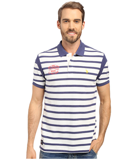 Imbracaminte Barbati US Polo Assn Striped Slim Fit Polo Shirt Dodger Blue Heather