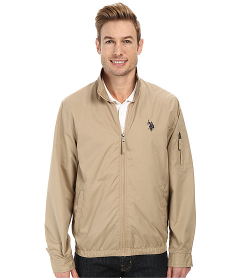Imbracaminte Barbati US Polo Assn Mock Zip Jacket Desert Khaki