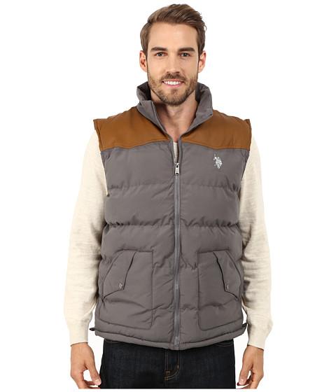 Imbracaminte Barbati US Polo Assn Western Yoke Puffer Vest Dark Grey