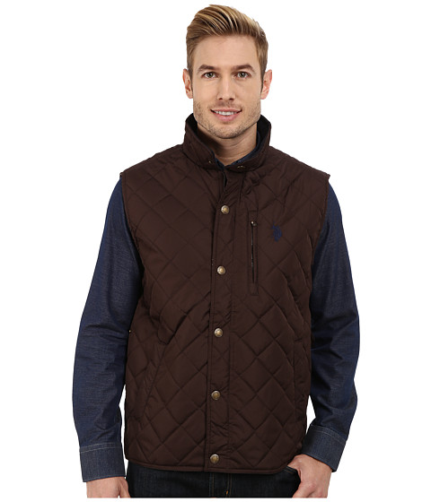 Imbracaminte Barbati US Polo Assn Diamond Quilted Vest with Corduroy Collar Dark Brown