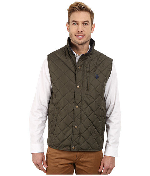 Imbracaminte Barbati US Polo Assn Diamond Quilted Vest with Corduroy Collar Forest Night