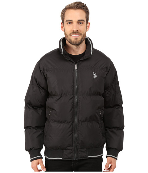 Imbracaminte Barbati US Polo Assn Puffer Jacket with Striped Rib Knit Collar Black