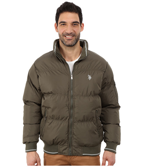 Imbracaminte Barbati US Polo Assn Puffer Jacket with Striped Rib Knit Collar Forest Night